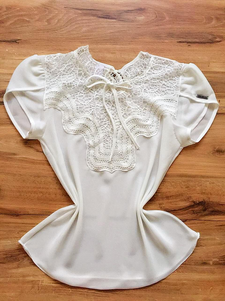 Blusa Bianca de Renda Saia Bella - SB9981 branco