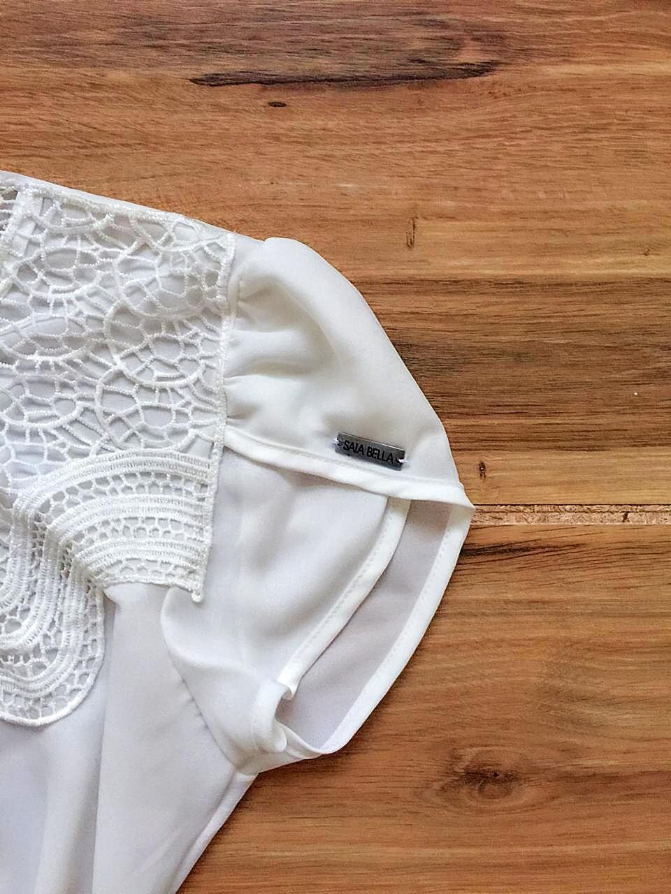 Blusa de Renda Saia Bella - SB9981 branco