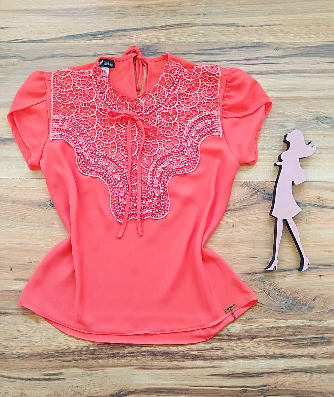 Blusa Bianca de Renda Saia Bella - SB9981 laranja