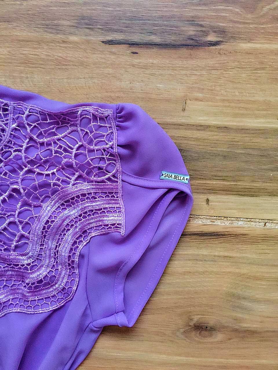 Blusa de Renda Saia Bella - SB9981 lilas