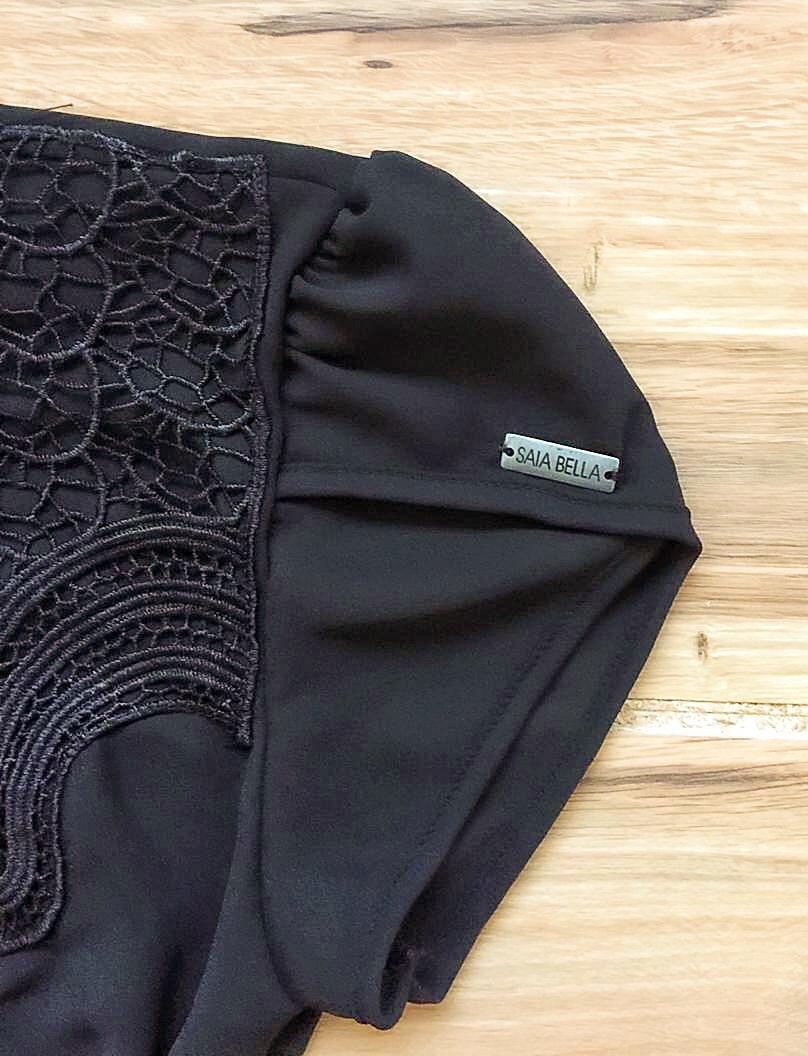 Blusa de Renda Saia Bella - SB9981 preto