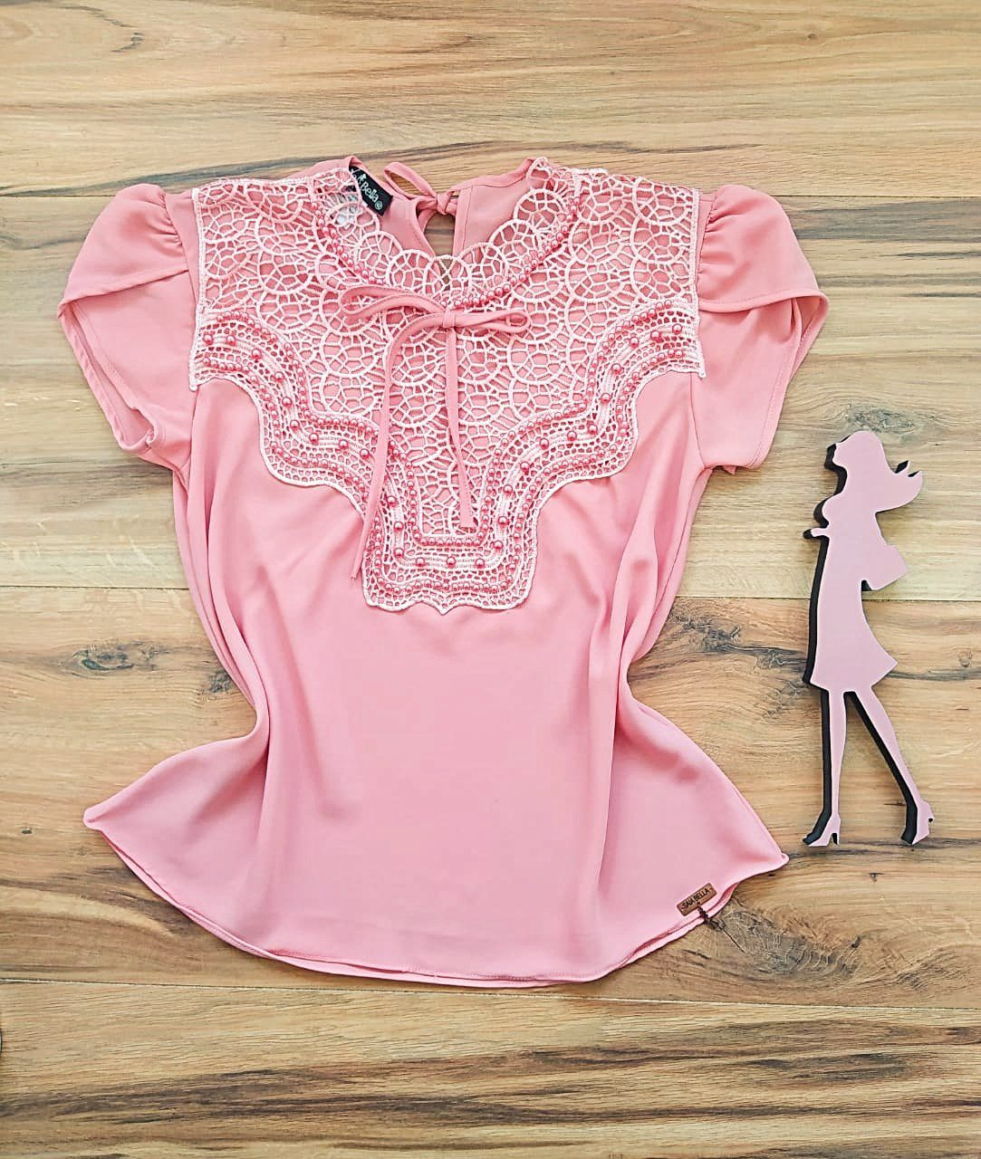 Blusa Bianca de Renda Saia Bella - SB9981 rosê