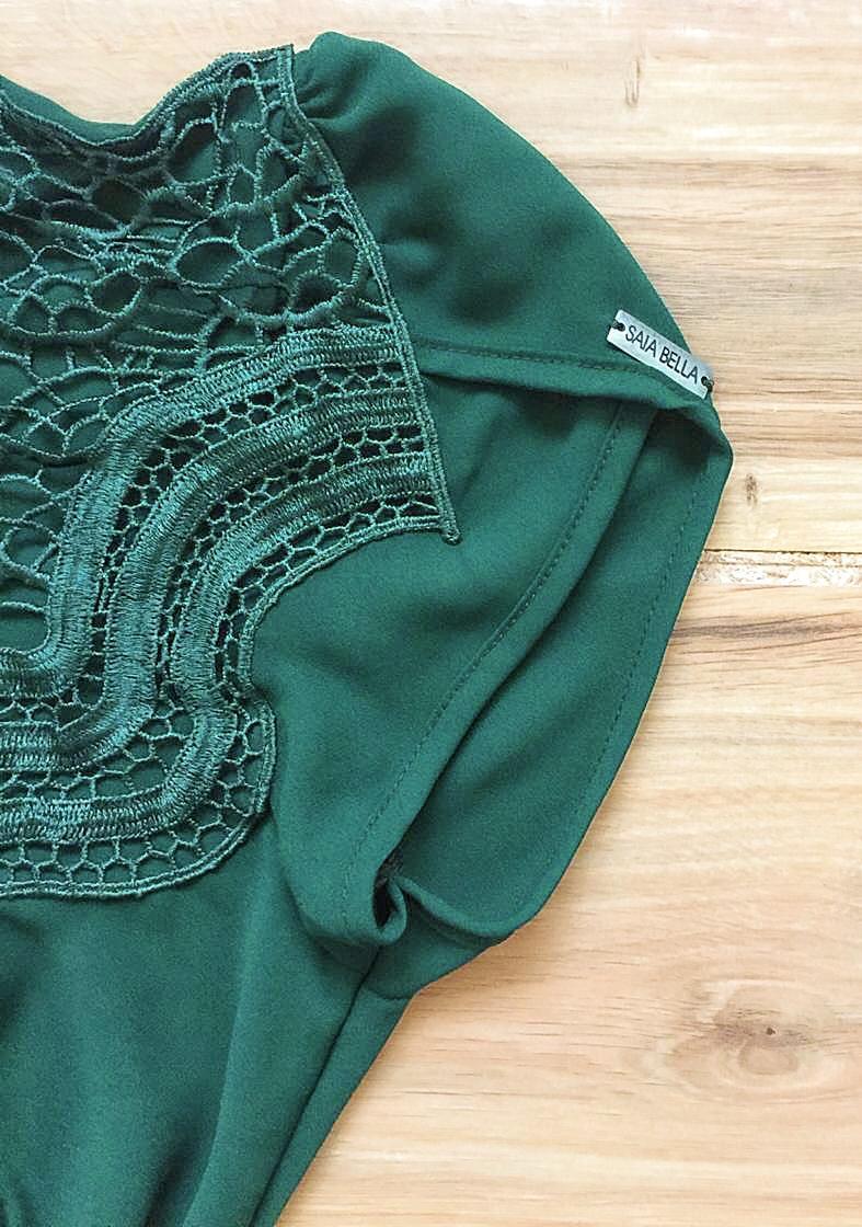 Blusa de Renda Saia Bella - SB9981 verde escuro