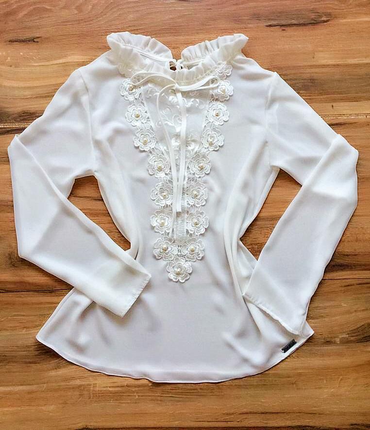 Blusa de Renda Saia Bella - SB9982 branco