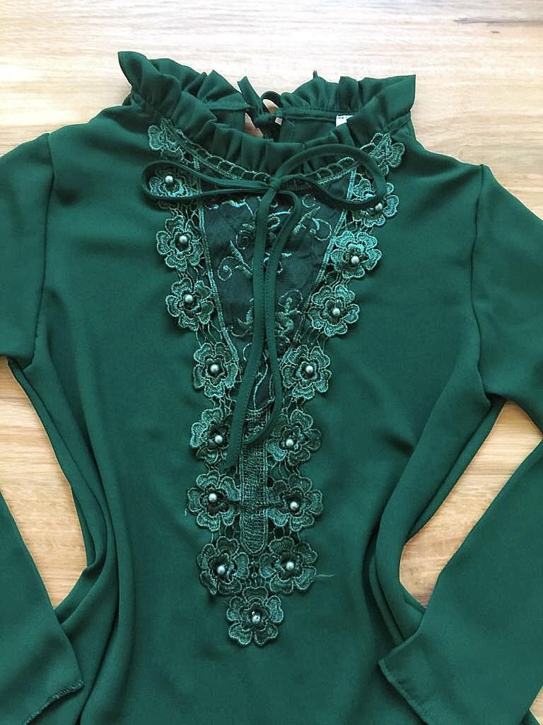 Blusa de Renda Saia Bella - SB9982 verde escuro