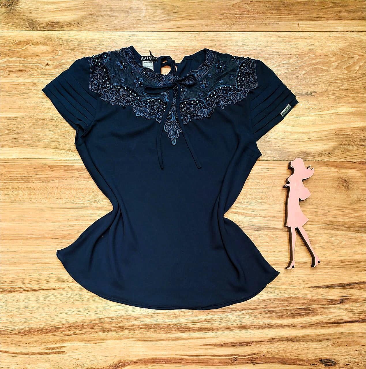 Blusa de Renda Saia Bella  SB9983 azul marinho