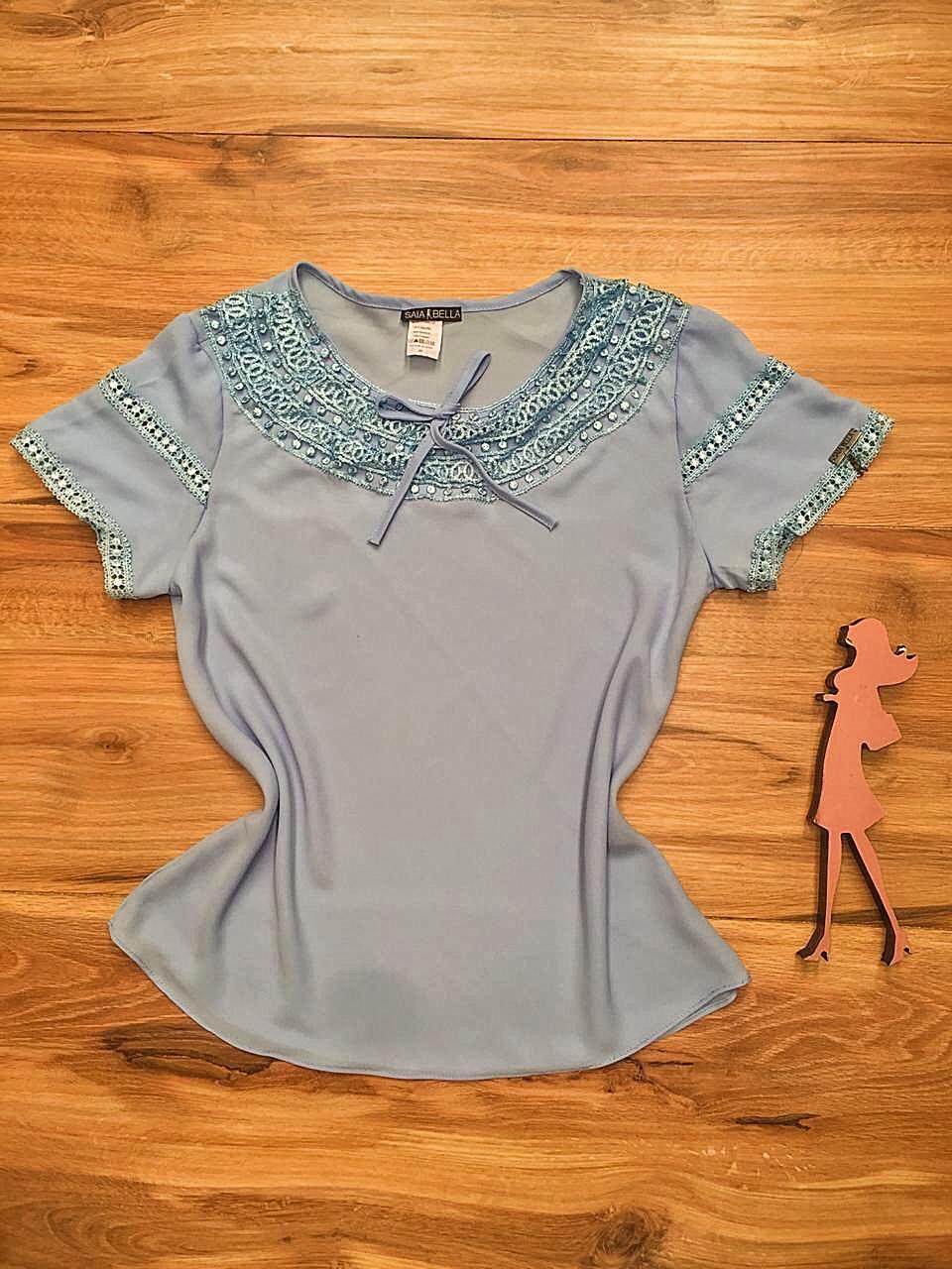 Blusa de Renda Saia Bella - SB9984 azul bebe