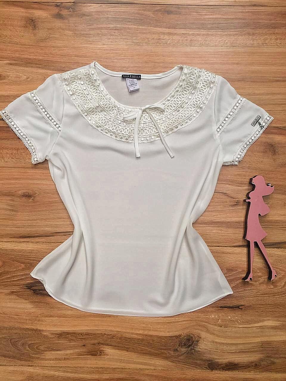 Blusa de Renda Saia Bella - SB9984 branco