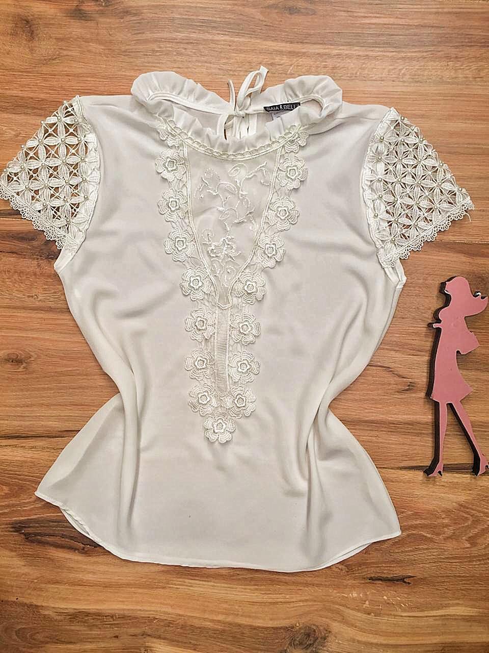 Blusa de Renda Saia Bella - SB9986 branco