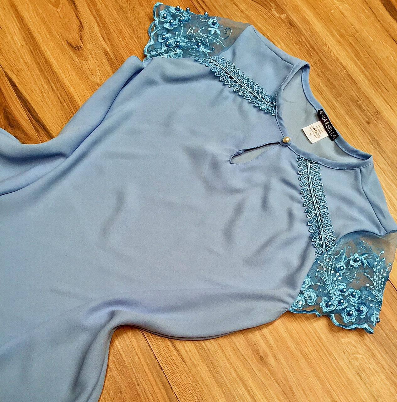 Blusa de Renda Saia Bella SB9987 Azul bebe