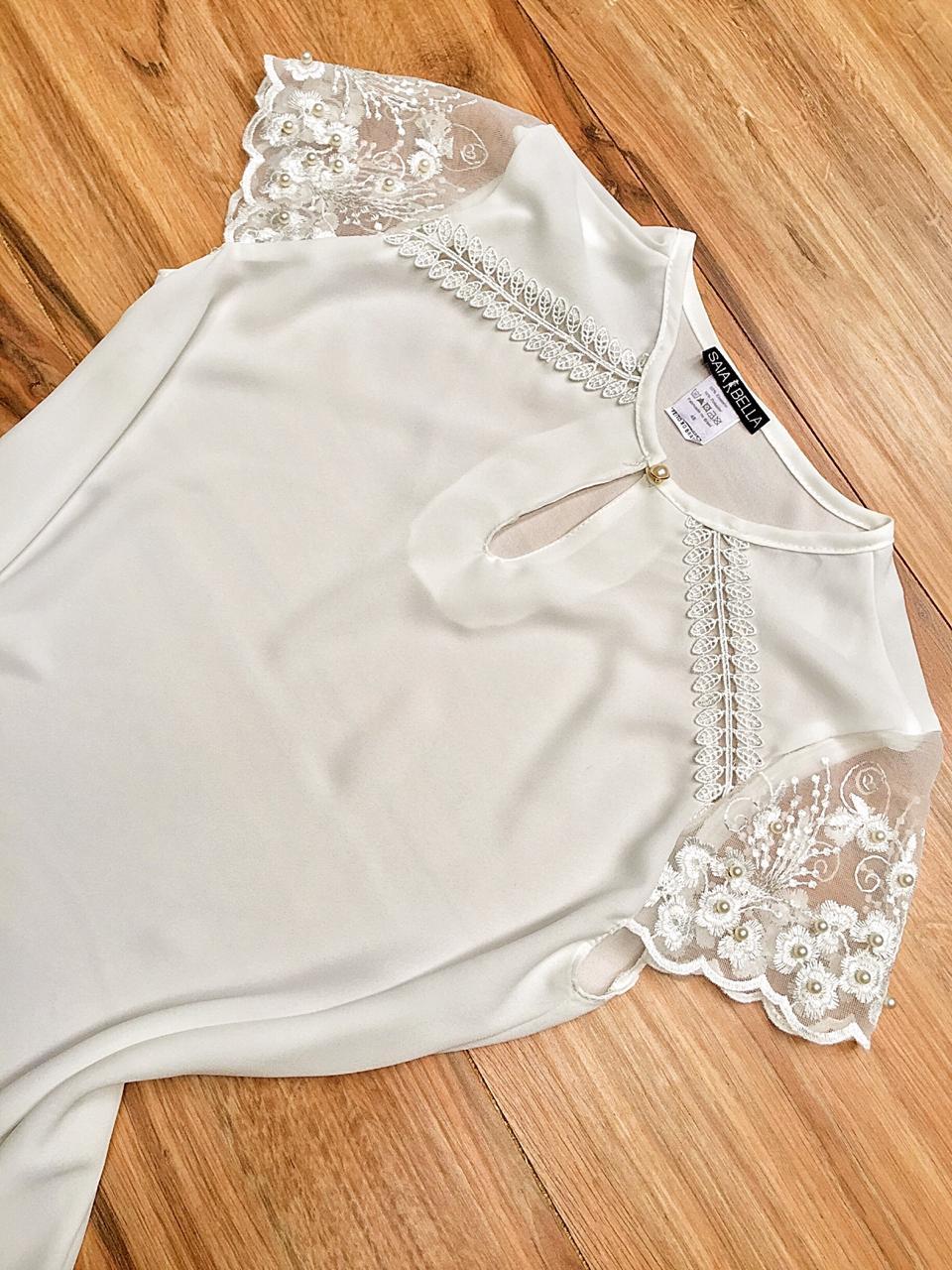 Blusa de Renda Saia Bella SB9987 Branco