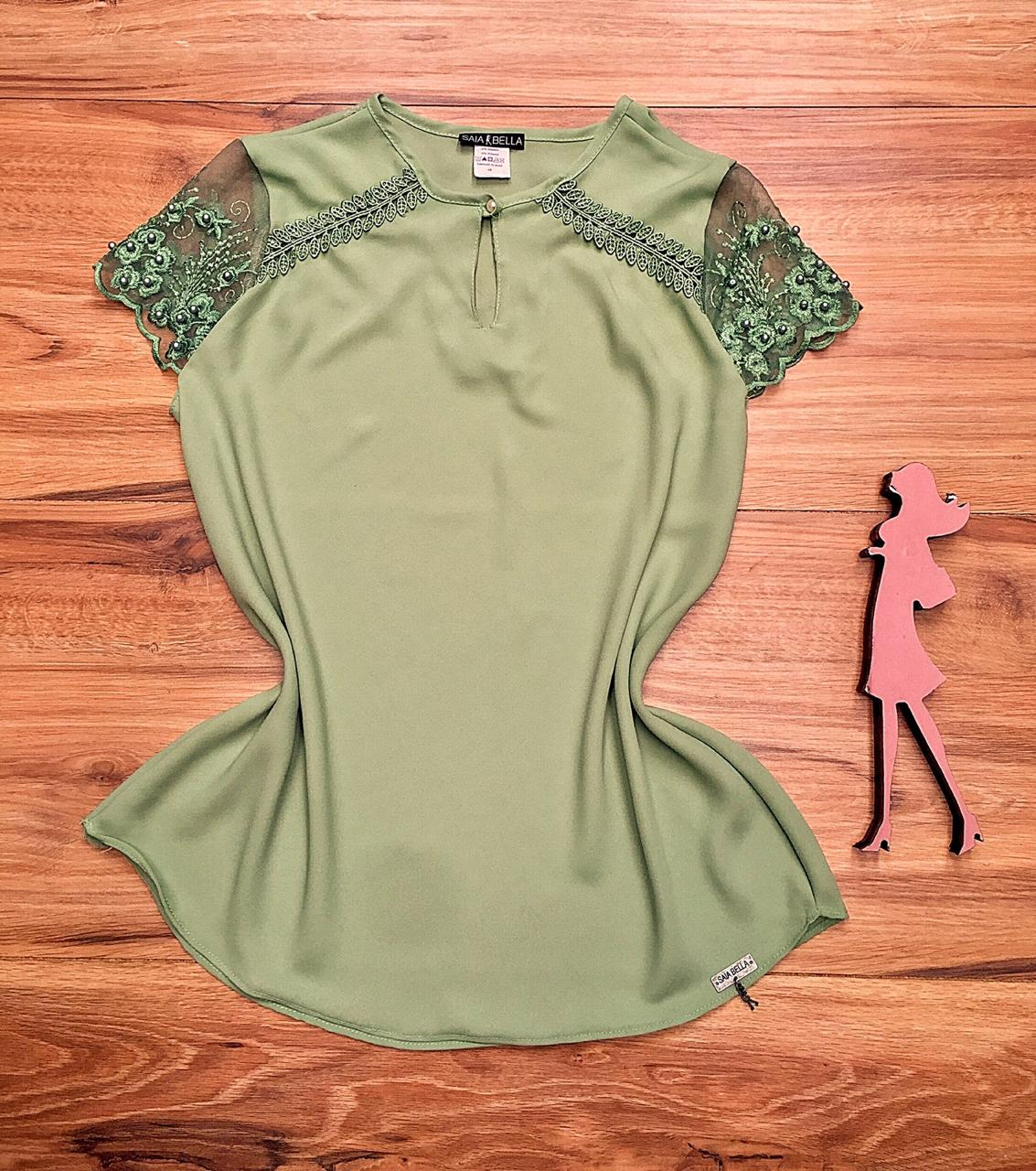 Blusa de Renda Saia Bella SB9987 Verde