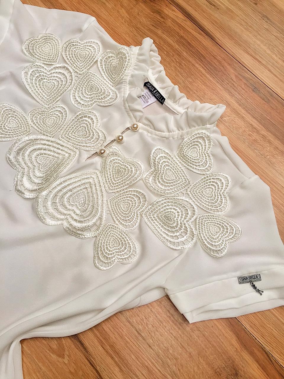 Blusa de Renda Saia Bella SB9988 Branco