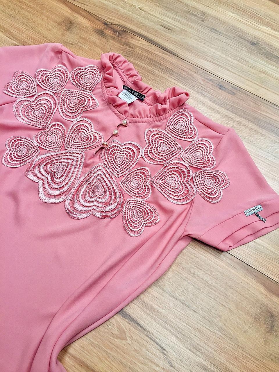 Blusa de Renda Saia Bella SB9988 Rosa