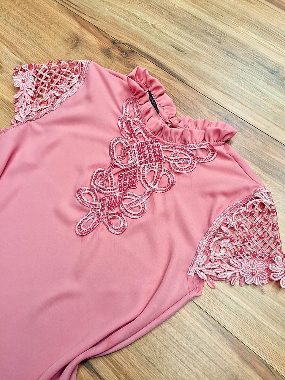 Blusa de Renda Saia Bella SB9990 Rosa