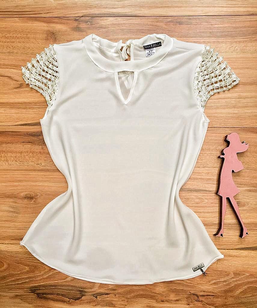 Blusa de Renda Saia Bella - SB9992 branco