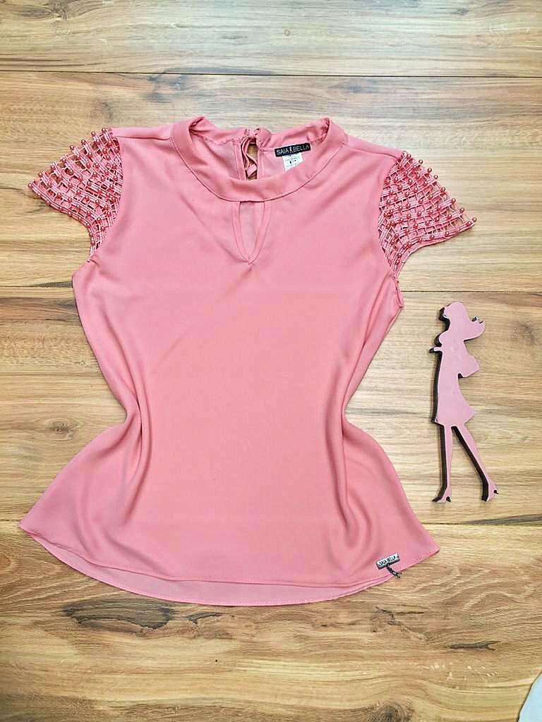 Blusa de Renda Saia Bella - SB9992 rosa