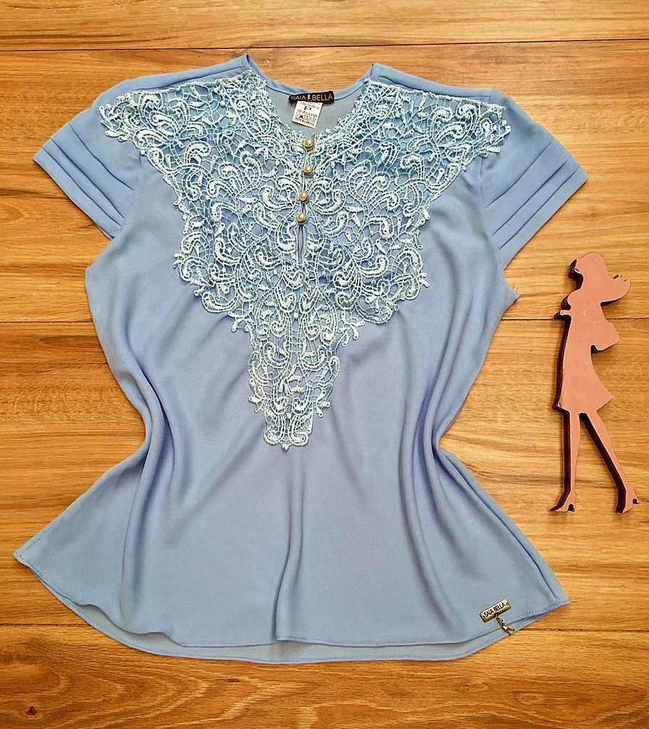 Blusa de Renda Saia Bella - SB9993 azul bebe