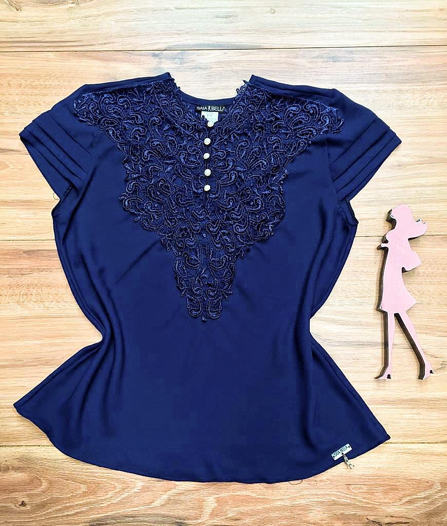 Blusa de Renda Saia Bella - SB9993 azul marinho