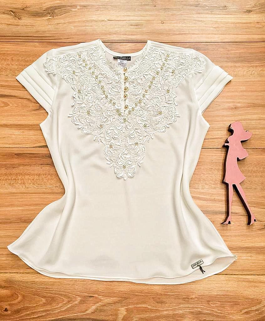Blusa de Renda Saia Bella - SB9993 branco