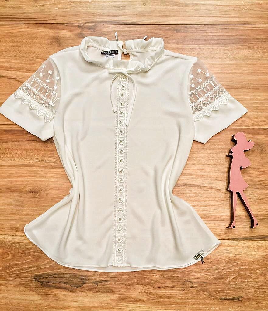 Blusa de Renda Saia Bella - SB9994 branco