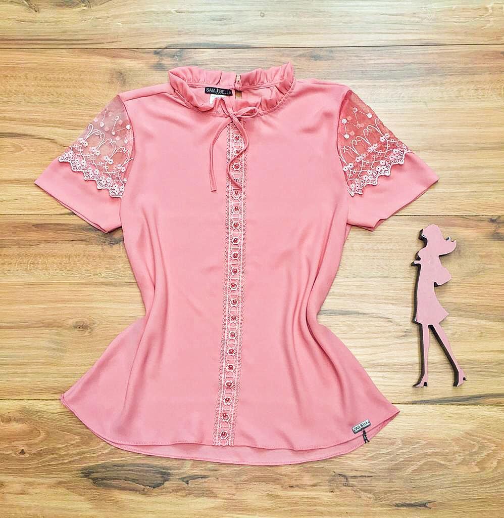 Blusa de Renda Saia Bella - SB9994 rosa