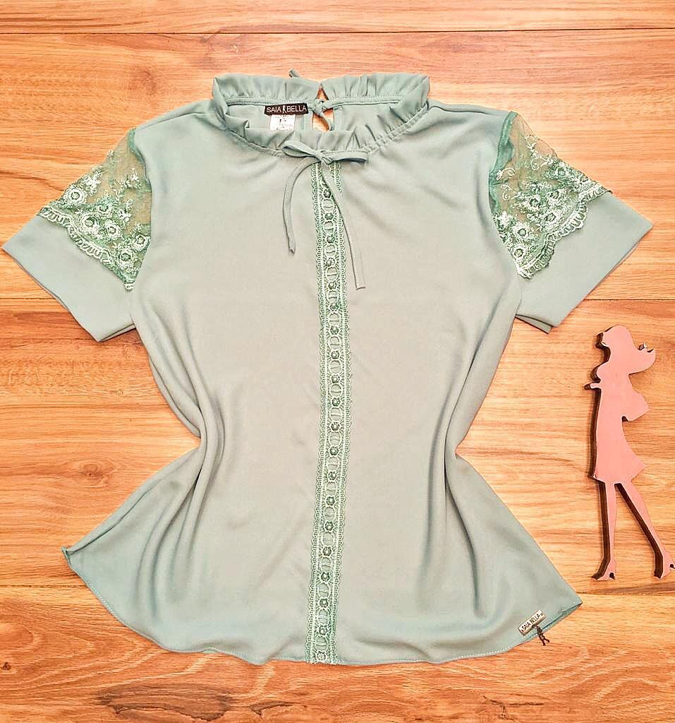 Blusa de Renda Saia Bella - SB9994 verde