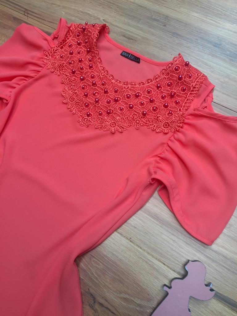 Blusa de Renda Saia Bella - SB9995 coral