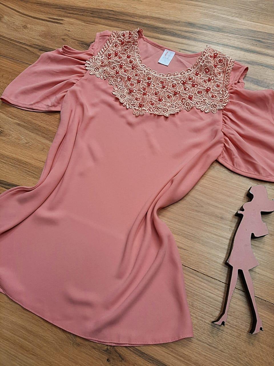 Blusa de Renda Saia Bella - SB9995 rosa