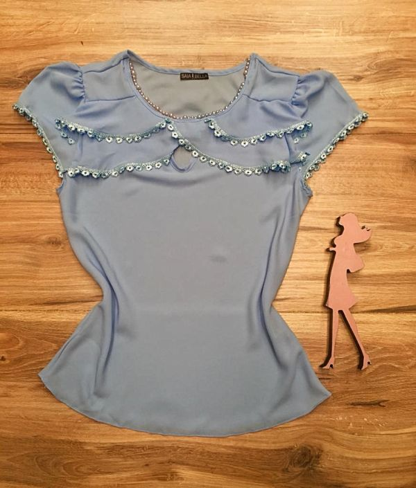Blusa de Renda Saia Bella - SB9996 azul bebe