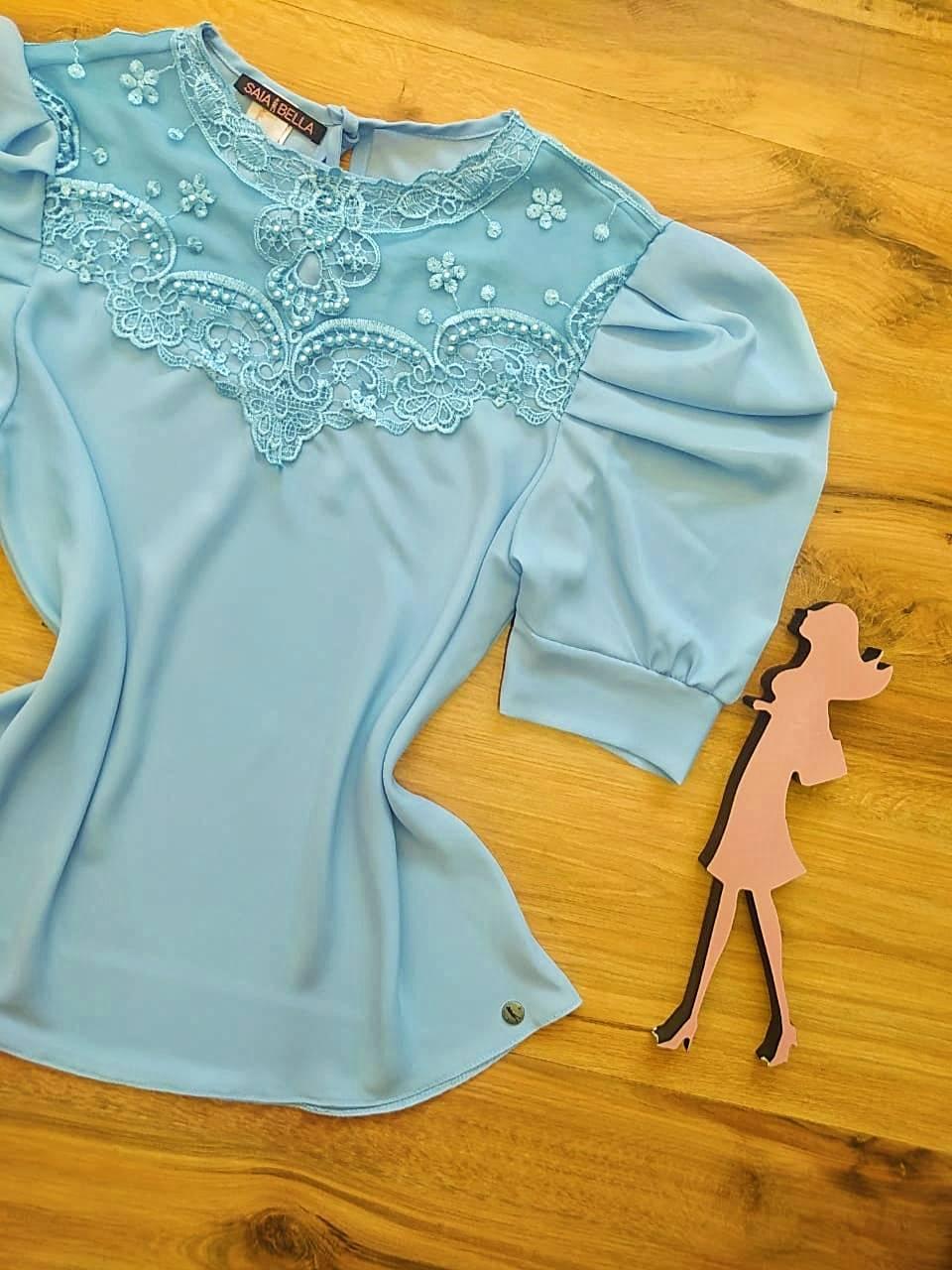 Blusa Dianna de Renda Saia Bella - SB840700 - Azul Bebê