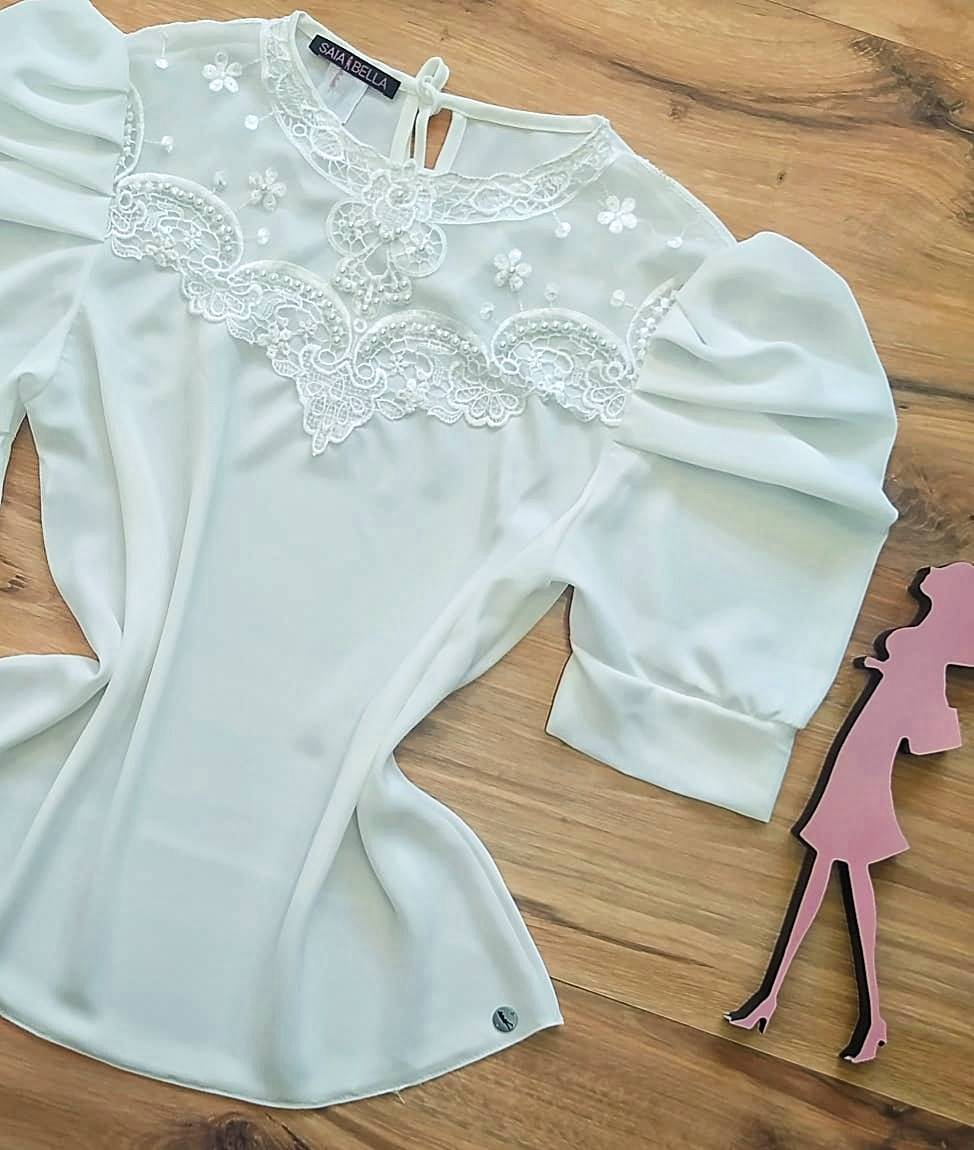 Blusa Dianna de Renda Saia Bella - SB840700 - Branca