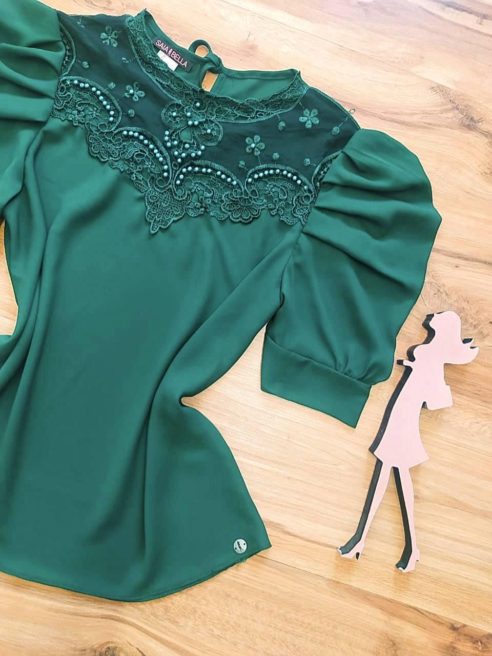 Blusa Dianna de Renda Saia Bella - SB840700 - Verde