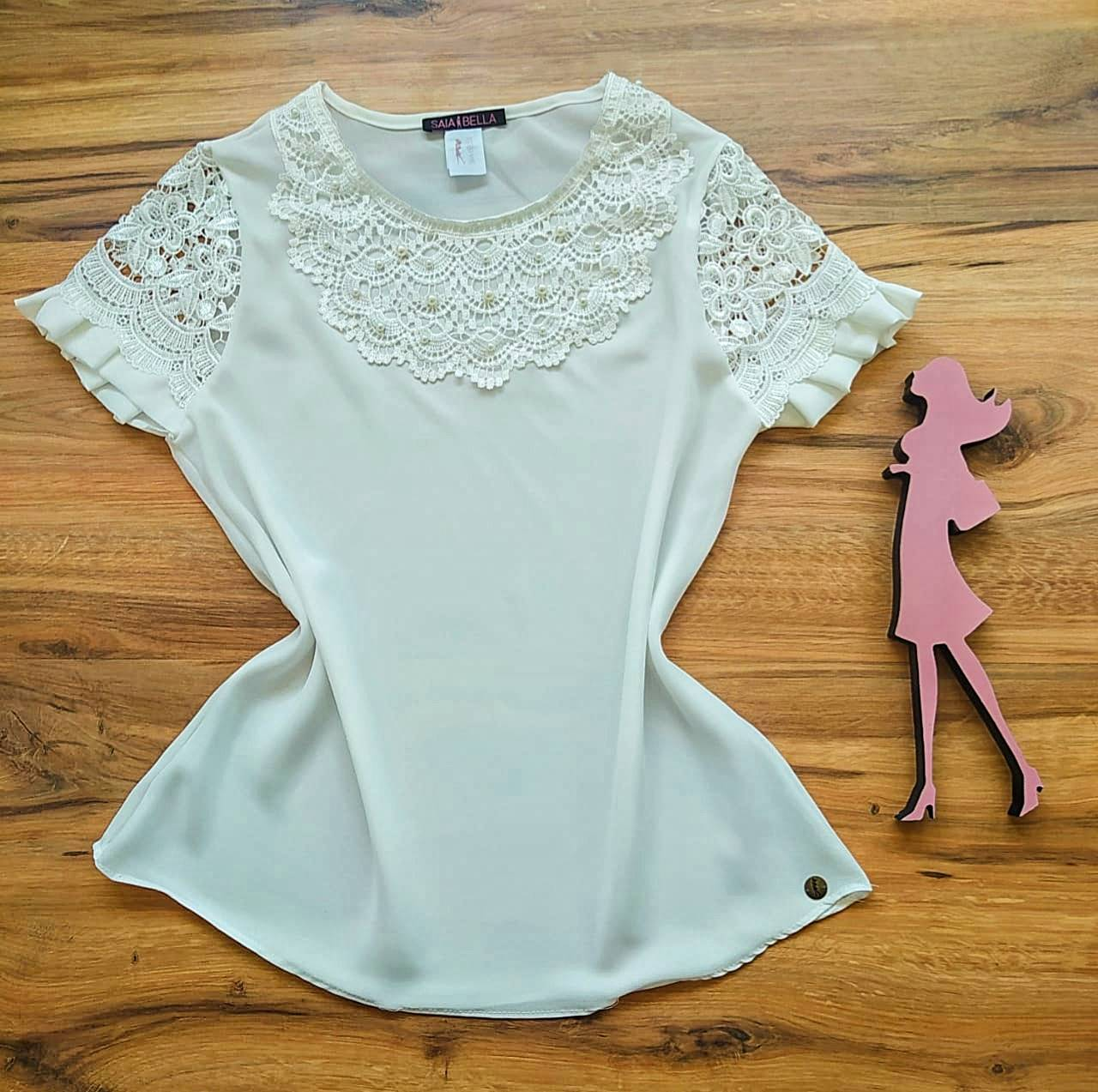 Blusa Estela de Renda Saia Bella - SB79904 Branco