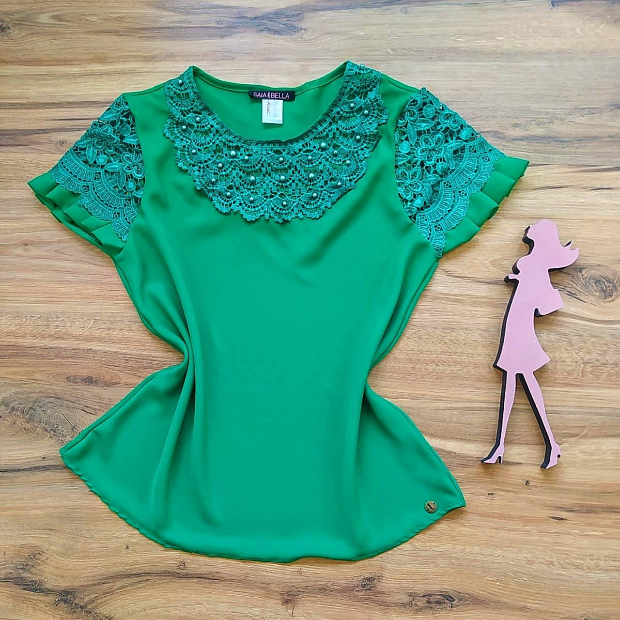 Blusa Estela de Renda Saia Bella - SB79904 verde