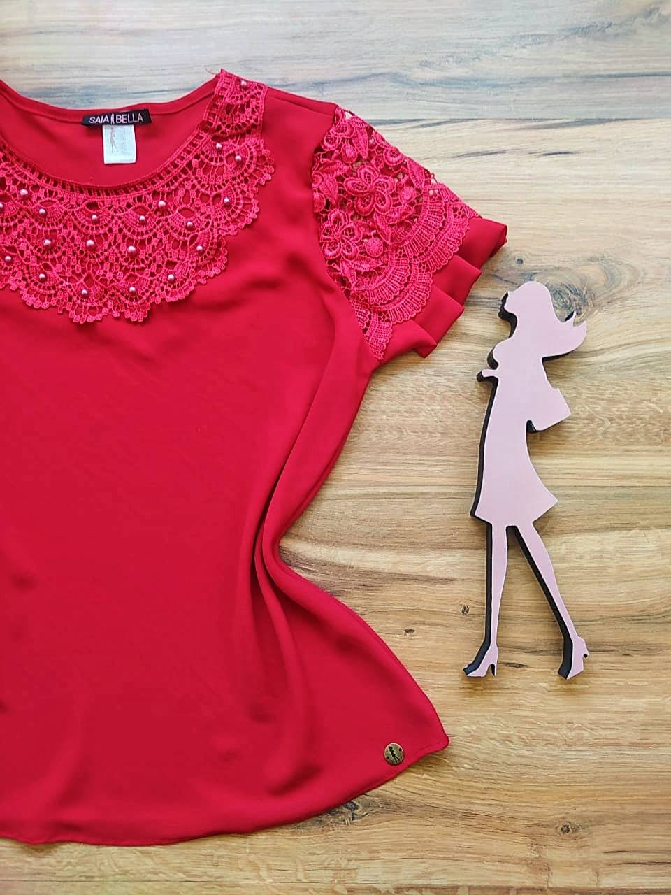 Blusa Estela de Renda Saia Bella - SB79904 Vermelho