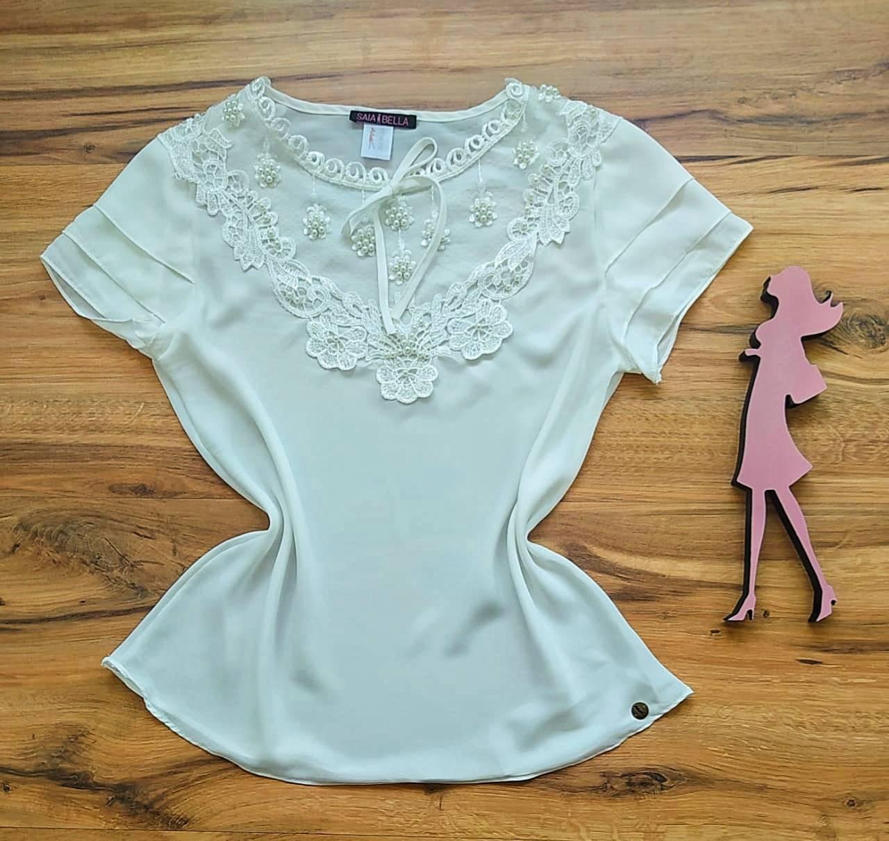 Blusa Fany de Renda Saia Bella - SB79901 Branco
