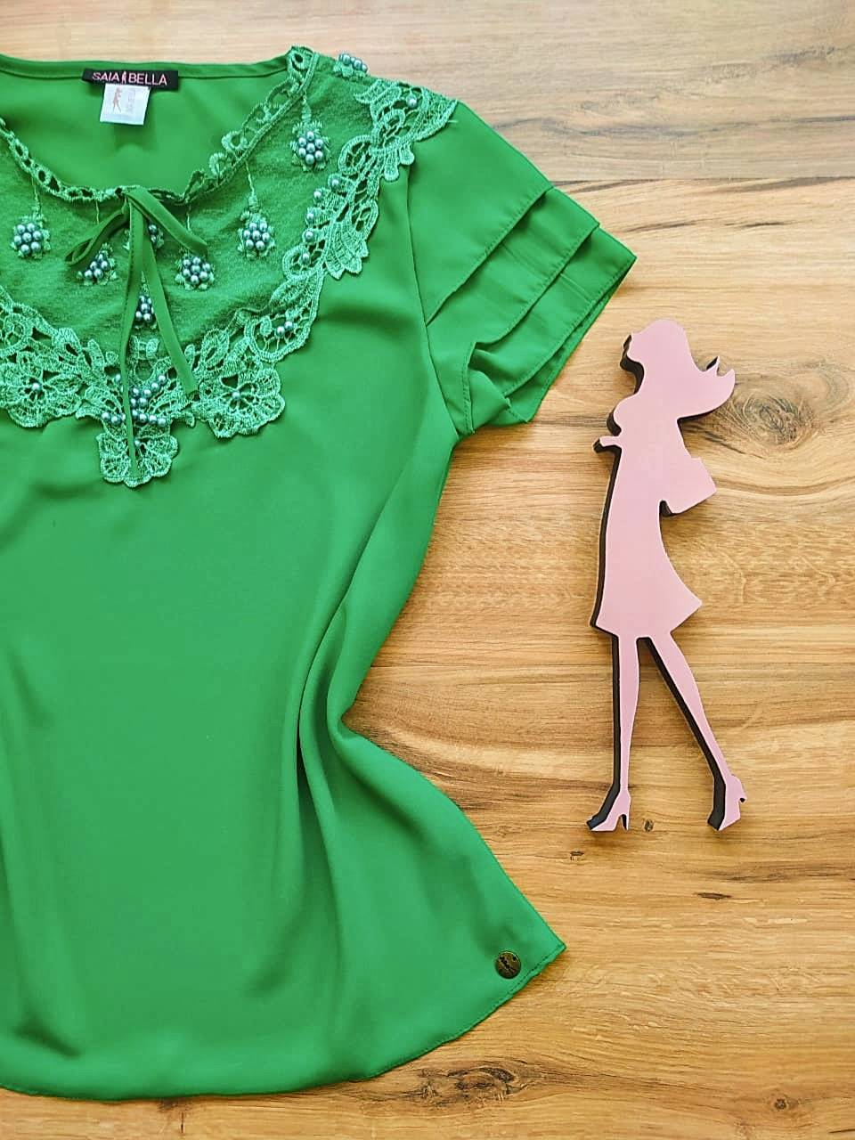 Blusa Fany de Renda Saia Bella - SB79901 Verde