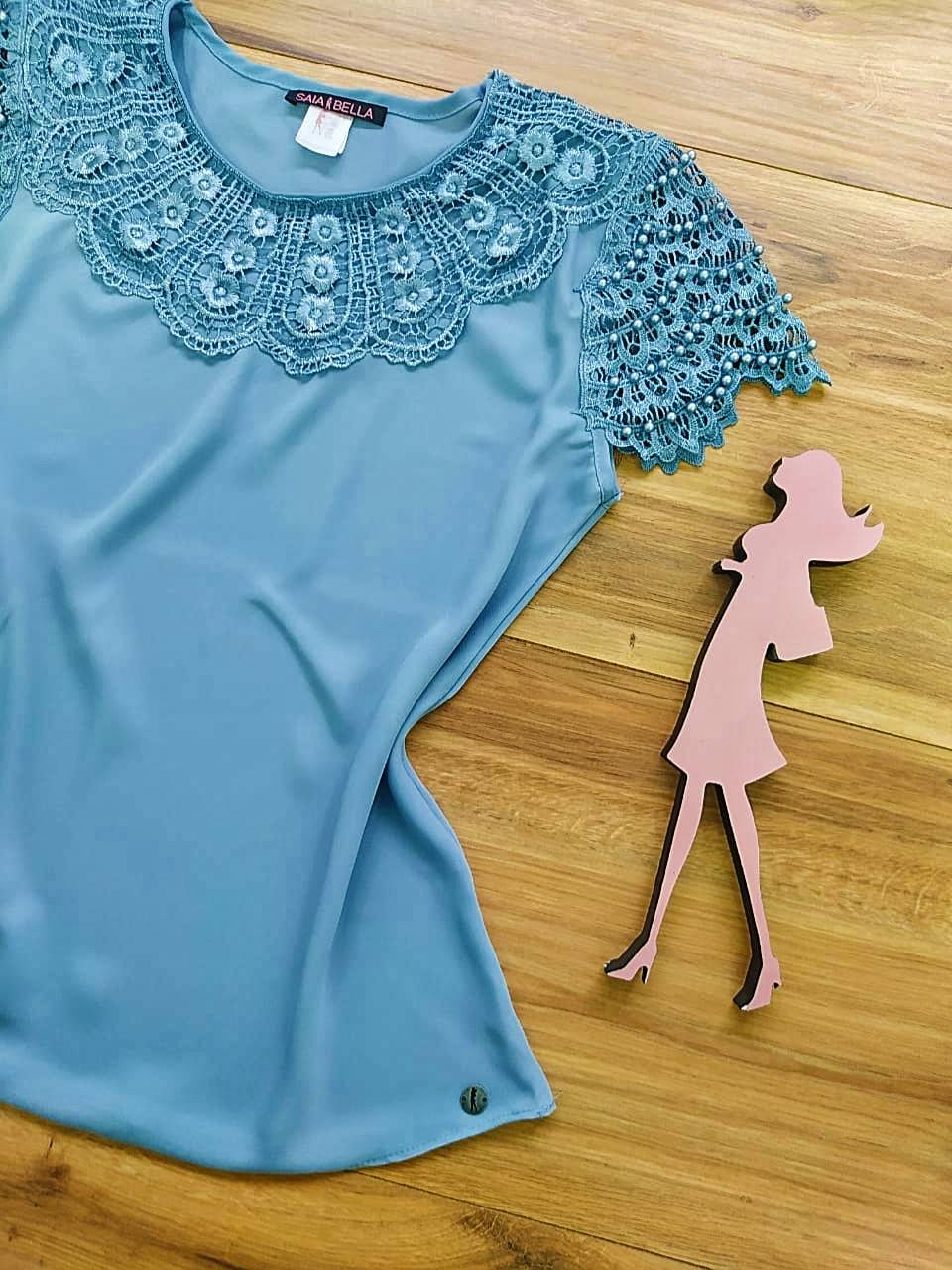 Blusa Fiorella de Renda Saia Bella - SB79902 Azul Caribe