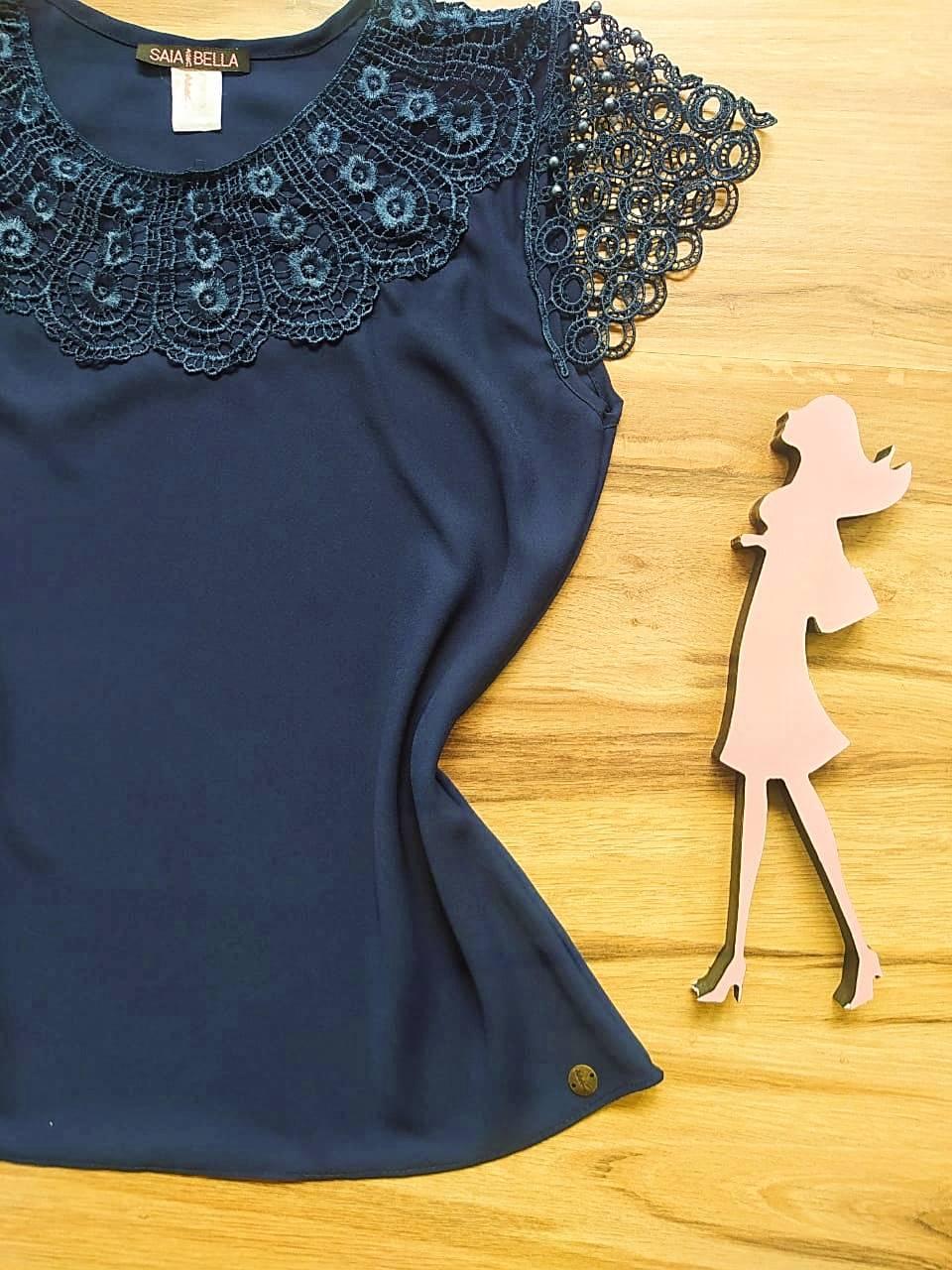 Blusa Fiorella de Renda Saia Bella - SB79902 azul Marinho