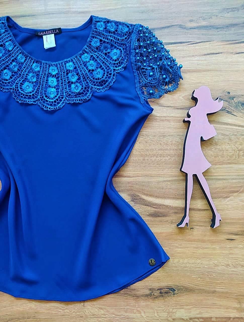 Blusa Fiorella de Renda Saia Bella - SB79902 Azul Royal