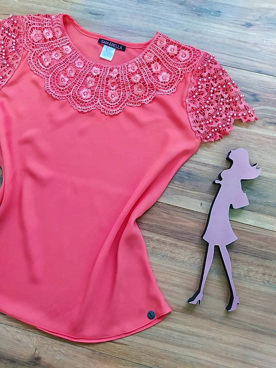 Blusa Fiorella de Renda Saia Bella - SB79902 Coral