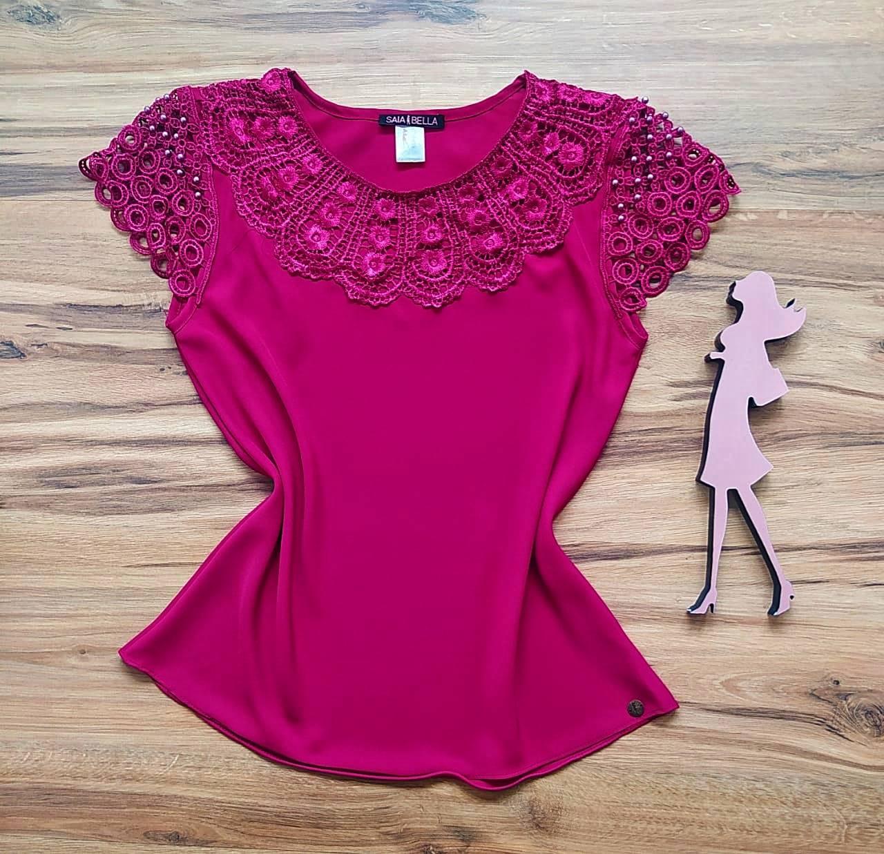Blusa Fiorella de Renda Saia Bella - SB79902 Purpura