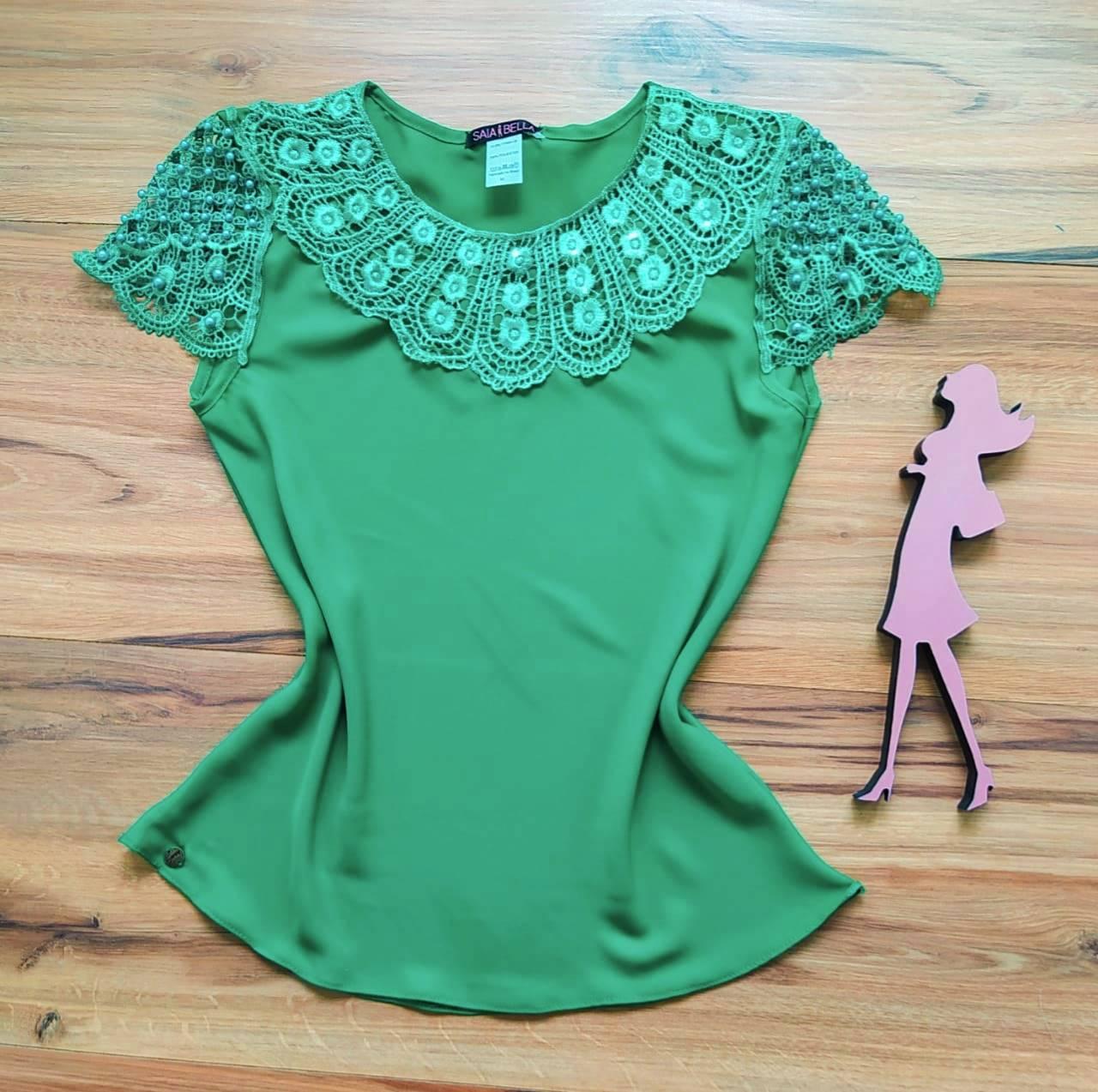 Blusa Fiorella de Renda Saia Bella - SB79902 Verde