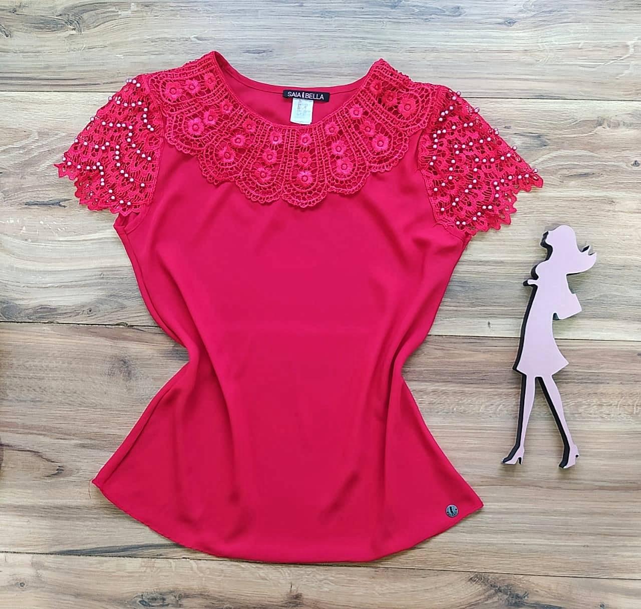 Blusa Fiorella de Renda Saia Bella - SB79902 Vermelho