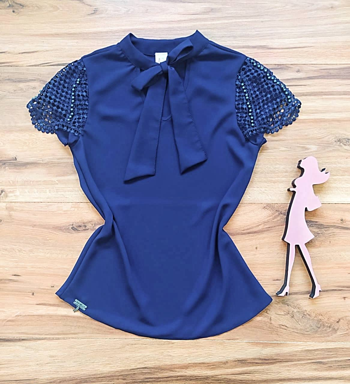 Blusa Heloísa Saia Bella - SBR7780 Azul Marinho