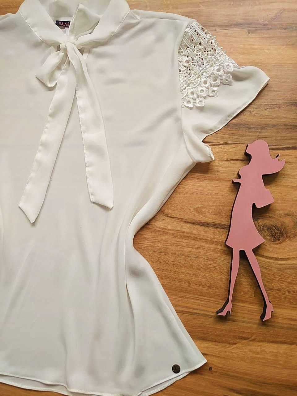 Blusa Joy de Renda Saia Bella - SB21471 Branco Plus Size