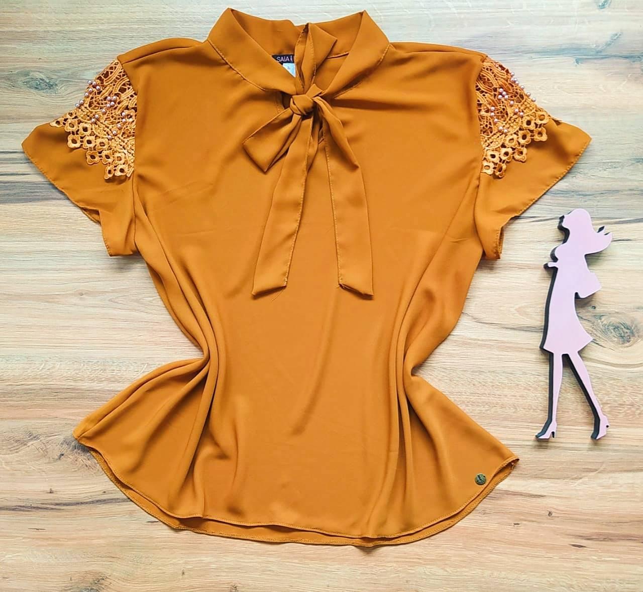 Blusa Joy de Renda Saia Bella - SB21471 Caramelo Plus Size