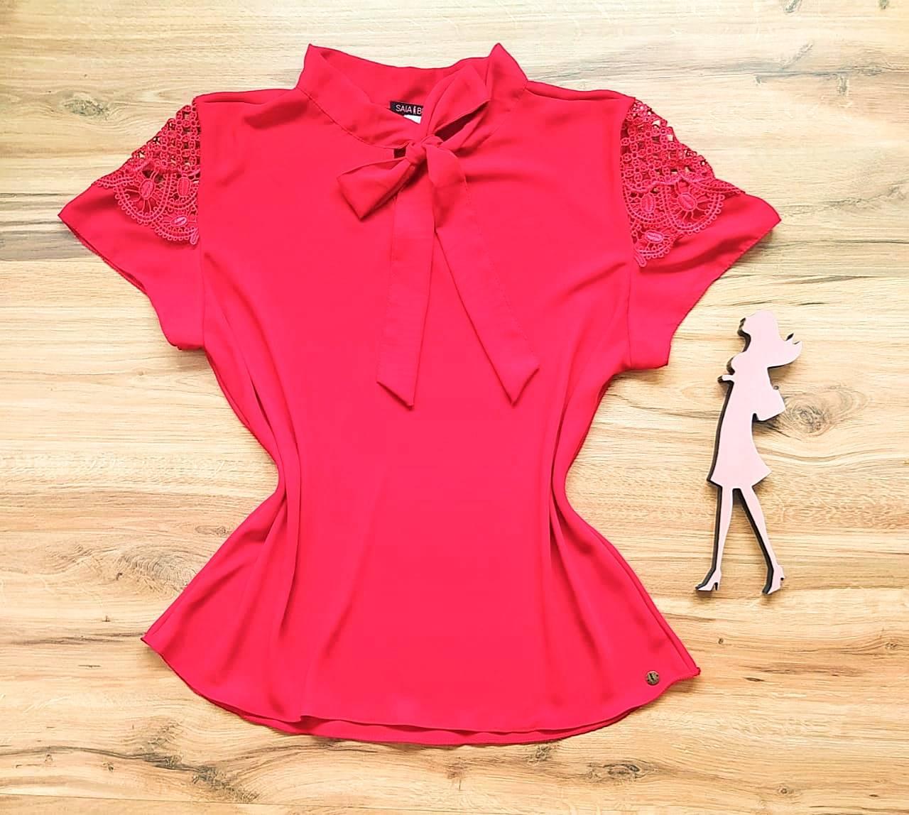 Blusa Joy de Renda Saia Bella - SB21471 Vermelho Plus Size