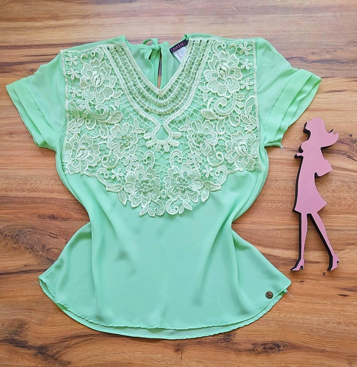 Blusa Karina de Renda Saia Bella - SB79905 Verde Claro